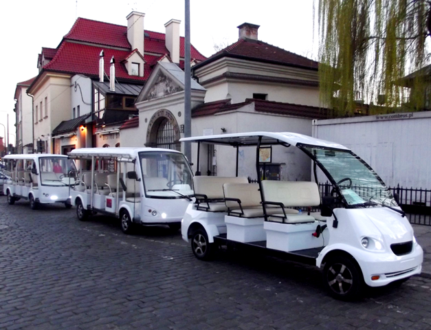 white golf carts